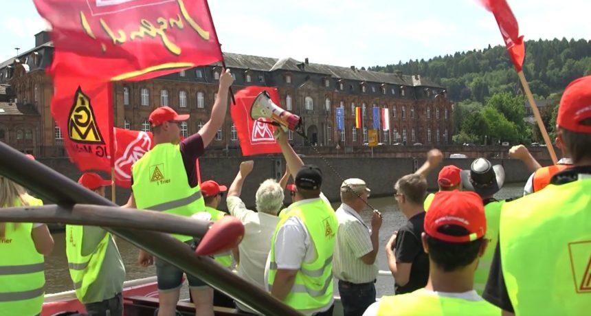 Videoclip: Demo auf der Mosel und Solidaritätsbesuch auf der Dillinger Hütte