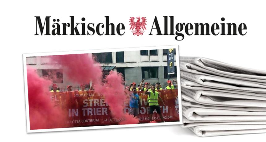 Märkische Allgemeine: Brandenburg an der Havel - 19 Stunden Warnstreik vor dem Riva-Werk