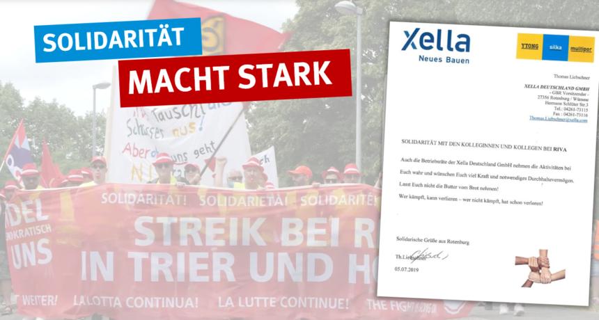 RIVA Tarifkonflikt erreicht auch die Kunden der Baubranche - Solidarität vom GBR bei Xella