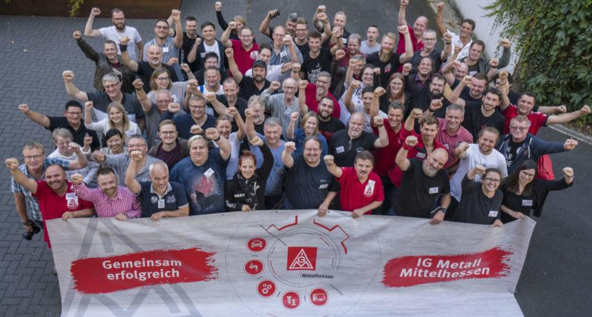 Aktive der IG Metall Mittelhessen mit weiterer Spendenunterstützung für die Streikenden