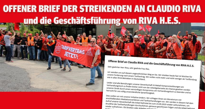 Offener Brief der Streikenden an Claudio RIVA und die Geschäftsführung von RIVA H.E.S.