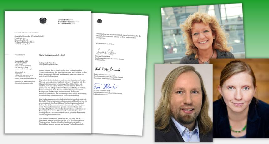 Bundestagsfraktion der Grünen fordert Riva auf, wieder an den Verhandlungstisch zurückzukehren.