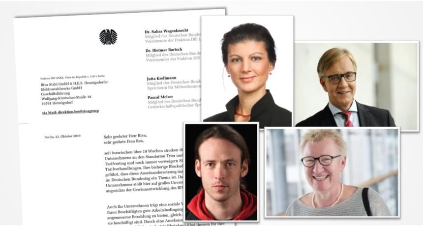 Schreiben der Bundestagsfraktion DIE LINKE an die Geschäftsführung von RIVA