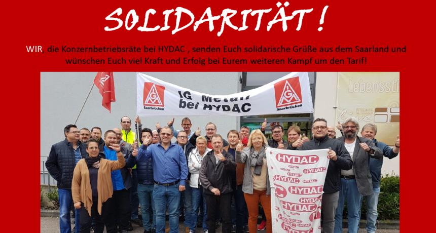 Betriebsräte der HYDAC Gruppe solidarisch mit den Streikenden von RIVA